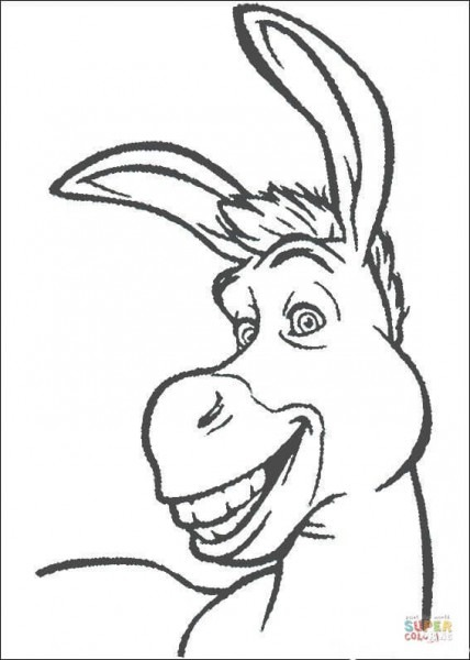 Dibujo De Asno Sonriendo Para Colorear