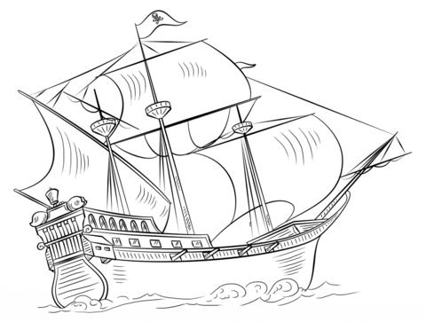 Dibujo De Barco Pirata Para Colorear