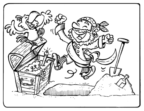 Dibujo De Los Piratas Celebran El Hallazgo Del Tesoro Para