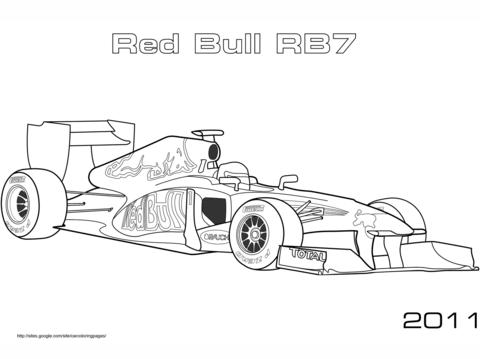 Dibujo De Coche De Fórmula 1 Red Bull Rb7 Para Colorear