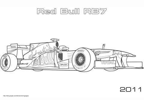 Dibujo De Coche De Carreras De Fórmula 1 Red Bull Rb7 Para