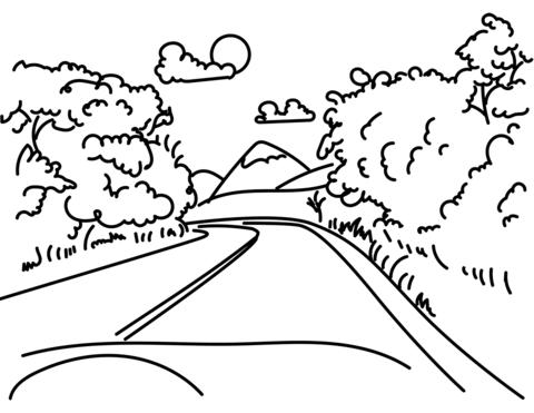 Dibujo De Camino De La Montaña Para Colorear