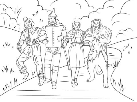 Dibujo De Espantapájaros, Hombre De Hojalata, Dorothy Y El León
