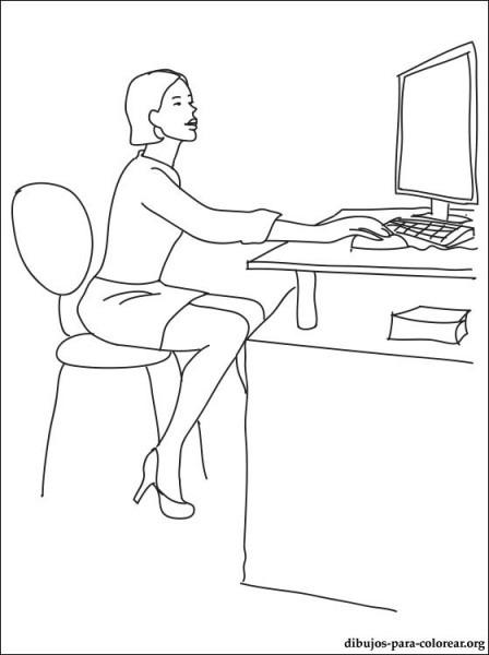 Dibujo De Secretaria Para Colorear