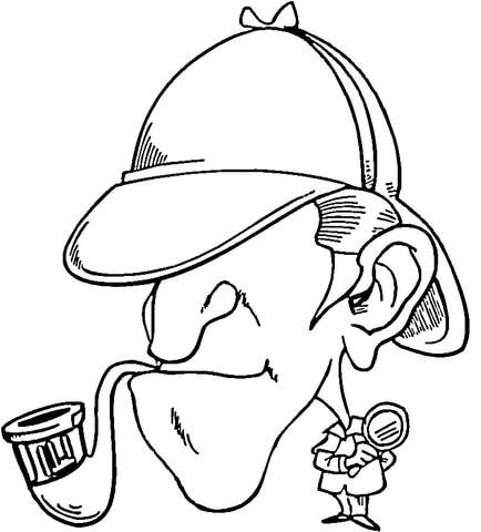 Dibujo De Sherlock Holmes Con Pipa Para Colorear