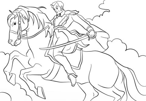 Dibujo De Simon Bolivar En Caballo Para Colorear