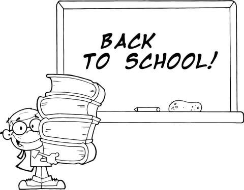 Dibujo De Alumno Con Libros Frente A La Pizarra Del Colegio Con El