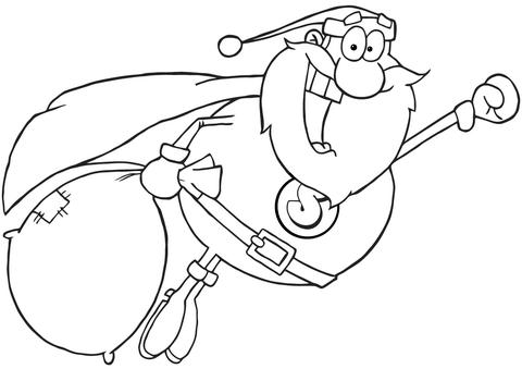 Dibujo De Súper Papá Noel Vuela Para Colorear