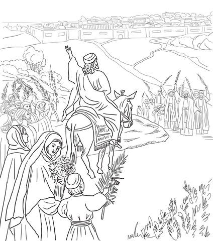 Dibujo De Entrada Triunfal A Jerusalén Para Colorear