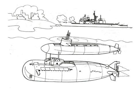 Dibujo De Dos Grandes Submarinos Para Colorear