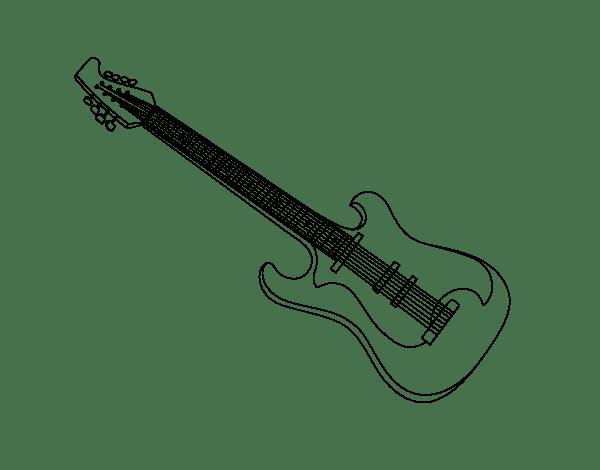 Dibujo De Una Guitarra Eléctrica Para Colorear