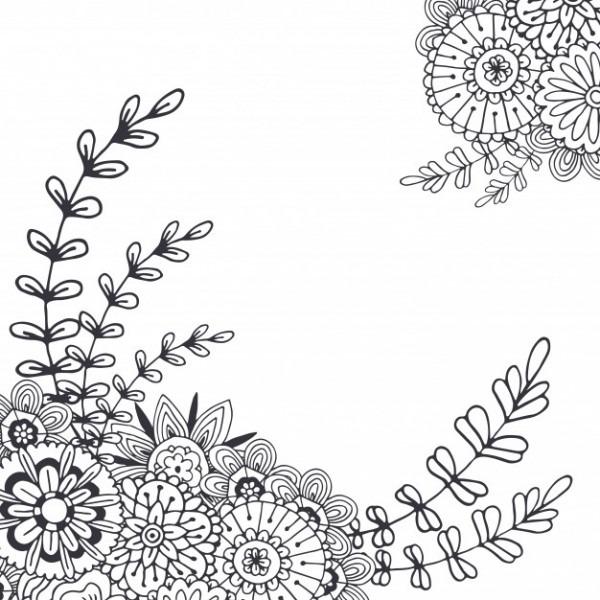 Vector Flores Abstractas Para La Decoración  Página De Libro De