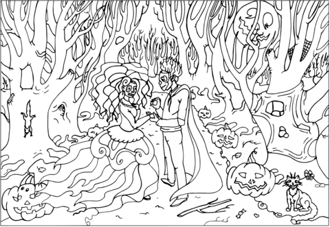 Dibujo De Boda En Halloween Para Colorear