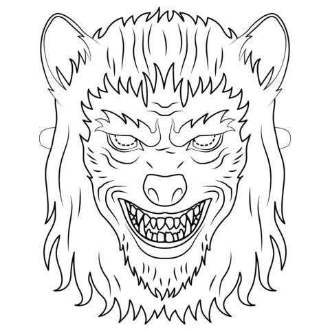 Dibujo De Máscara De Hombre Lobo Para Colorear
