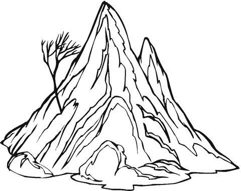Dibujo De La Montaña Y Un árbol Solo Y Sin Hojas Para Colorear