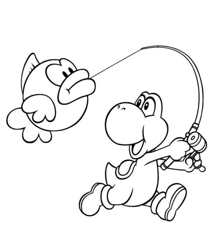 Dibujo De Yoshi Atrapa Un Pez Para Colorear