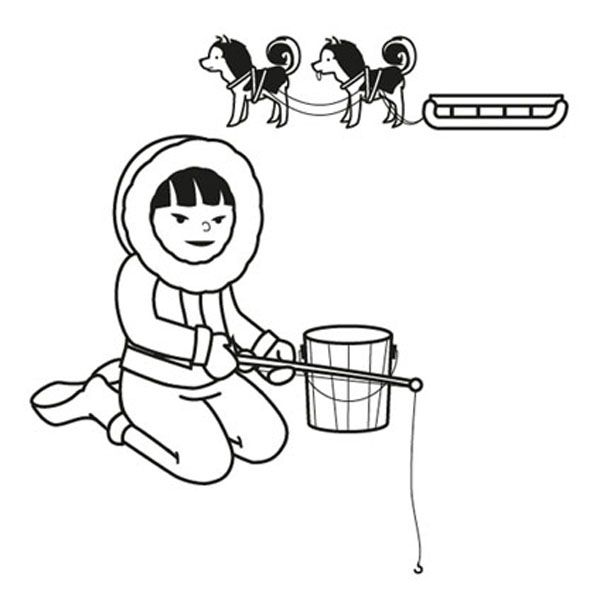 Niño Esquimal  Dibujo Para Colorear E Imprimir