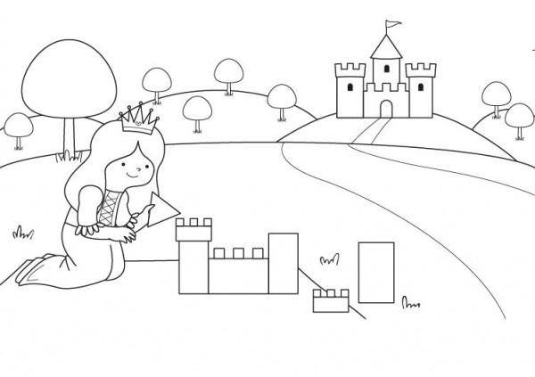 El Castillo De La Princesa  Dibujo Para Colorear E Imprimir