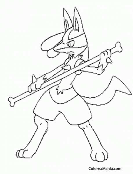 Colorear Lucario (pokemon), Dibujo Para Colorear Gratis