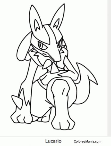 Colorear Lucario 2 (pokemon), Dibujo Para Colorear Gratis
