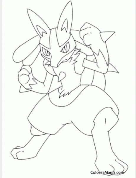 Colorear Lucario 3 (pokemon), Dibujo Para Colorear Gratis
