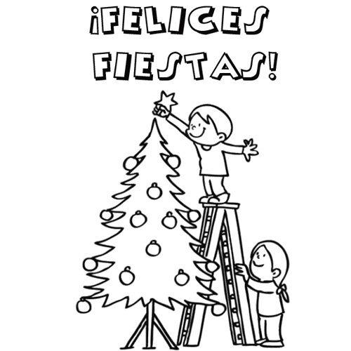 Tarjetas De Navidad Para Colorear, Dibujos Con Mensajes De Amor Y