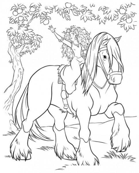 Dibujo De Princesa Colocha Bajo Un Arbol De Manzanas Sobre Su