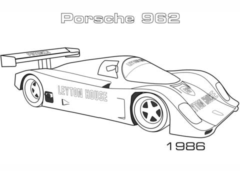 Dibujo De Porsche 962 De 1986 Para Colorear