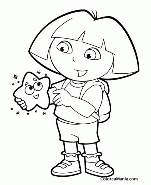 Colorear Dora Con Una Estrella (dora La Exploradora), Dibujo Para