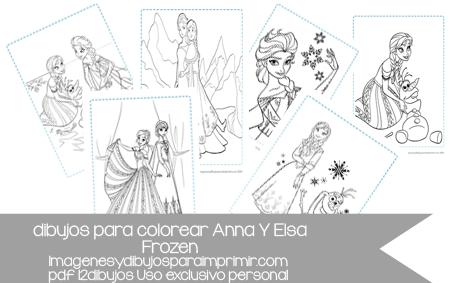 12 Dibujos De Anna Y Elsa De Frozen Para Colorear En Pdf