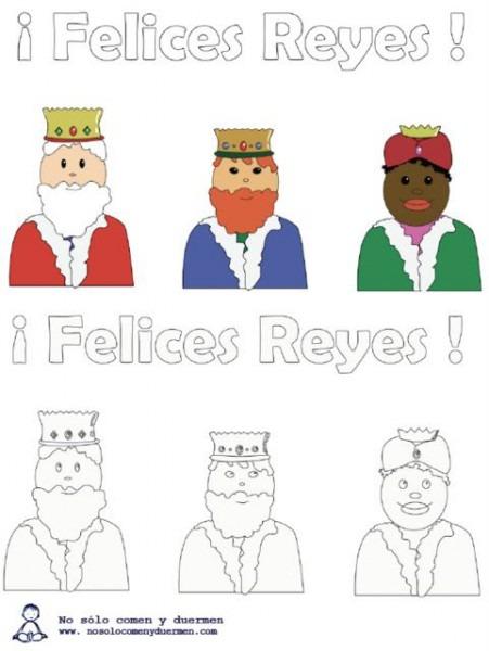 Colorea Los Dibujos De Los Reyes Magos  Melchor, Gaspar Y Baltasar