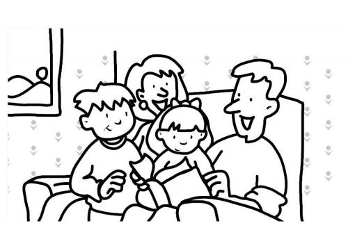 Coloring Page Reading Family