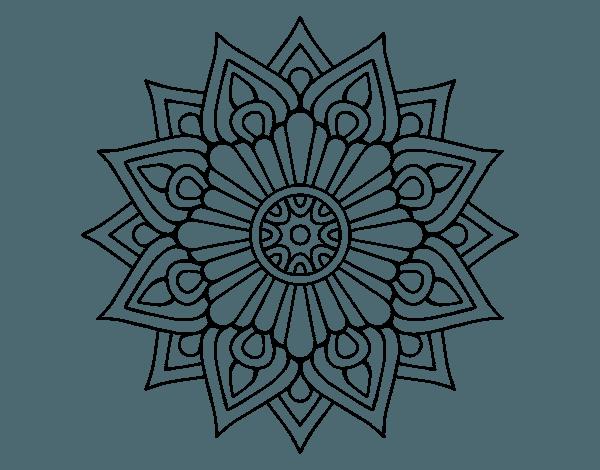 Dibujo De Un Un Mandala Destello Floral Para Pintar, Colorear O