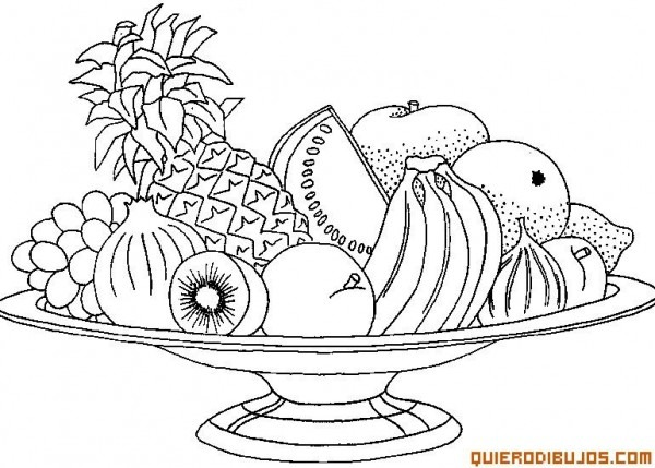 Tazon Con Frutas Para Colorear
