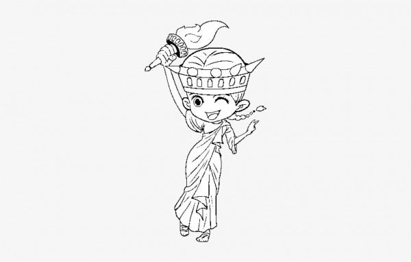 Dibujo De Estatua De La Libertad Manga Para Colorear