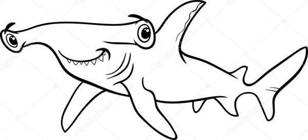 Black And White Cartoon Illustration Of Hammerhead Shark Fish Sea