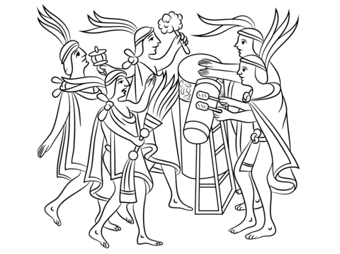 Ceremonia Azteca De La Flor Dibujo Para Colorear