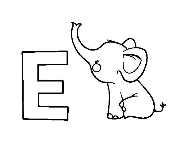 Dibujo De E De Elefante Para Colorear
