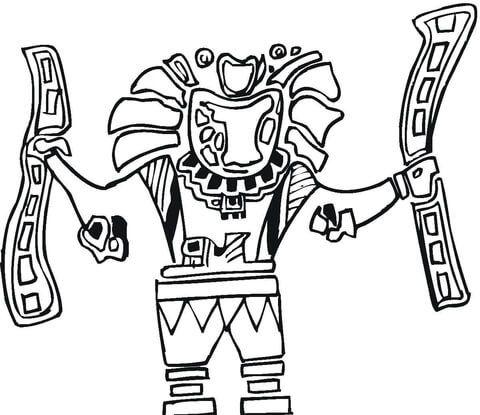 Arte Azteca Dibujo Para Colorear En 2019