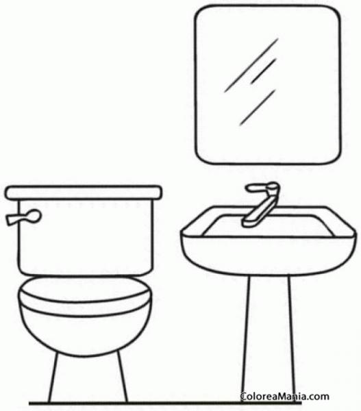 Colorear Muebles Del Baño (el Baño), Dibujo Para Colorear Gratis