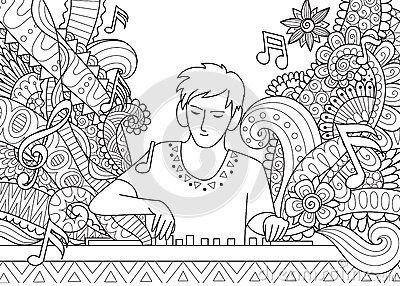 Dj Playing Music Line Art Design For Adult Coloring Book Page
