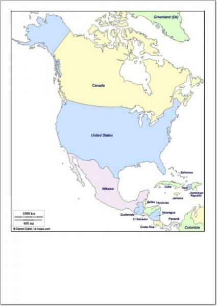 Mapa Político De América Del Norte Mapa De Países De América Del