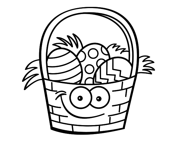 Dibujo De Cesto Con Huevos De Pascua Para Colorear