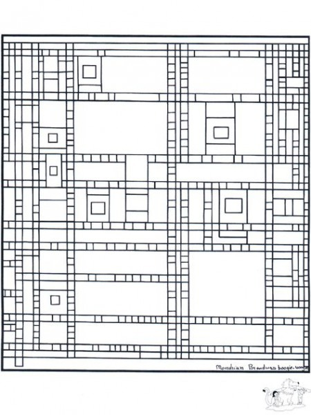 Painter Mondrian Broadway Boogie Woogie Coloring Page