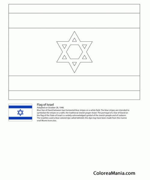 Colorear Israel (banderas De Paises), Dibujo Para Colorear Gratis