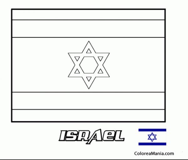 Colorear Estado De Israel (banderas De Paises), Dibujo Para