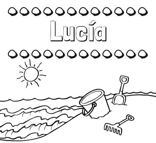 Nombre Lucía  Nombres En La Playa  Dibujos Para Colorear