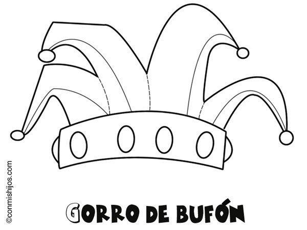 Dibujo De Un Gorro De Bufón De Carnaval Para Colorear Con Niños