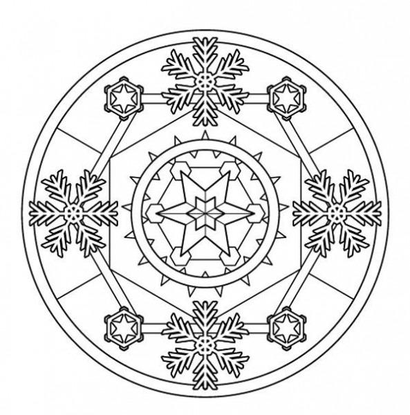Mandala De Invierno  Dibujo Para Colorear E Imprimir