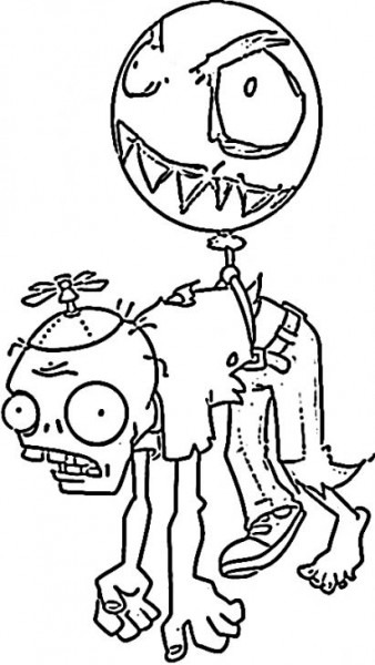 The Balloon Zombie In Plants Vs Zombies Kids Coloring Sheet To